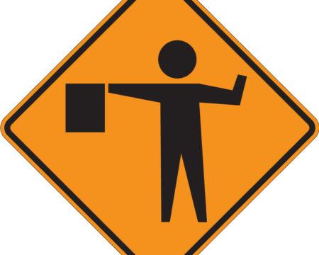 flagger sign symbol orange diamond