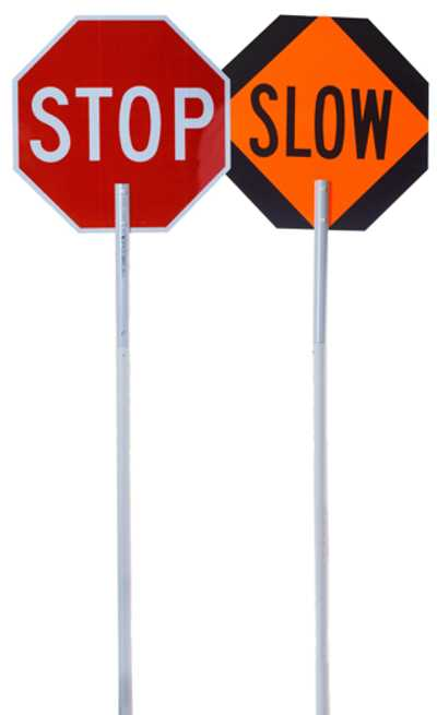 flagger pole stop slow sign