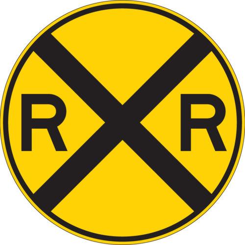 railroad track yellow circle sign