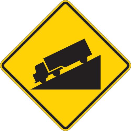 truck hill symbol diamond yellow sign
