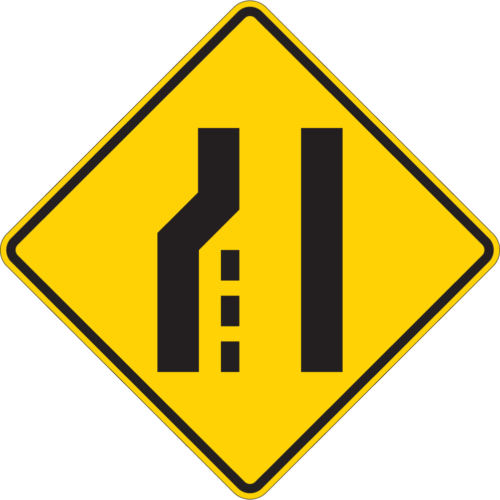 lane ends diamond yellow