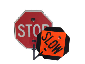 illuminated stop slow paddles, led stop slow, mutcd, crossing guards, traffic cops, police, fire, road signs, led sign