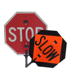 illuminated stop slow paddles for flaggers and traffic control