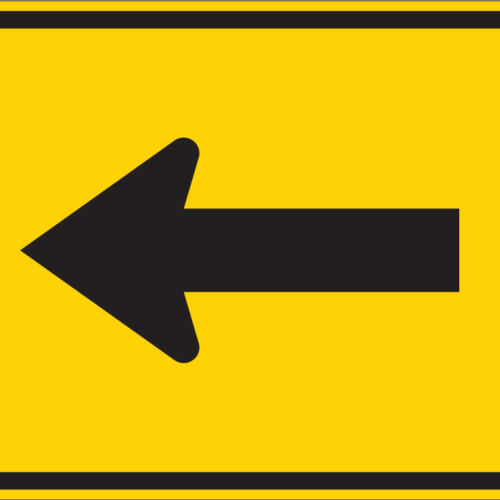 left rectangle yellow sign