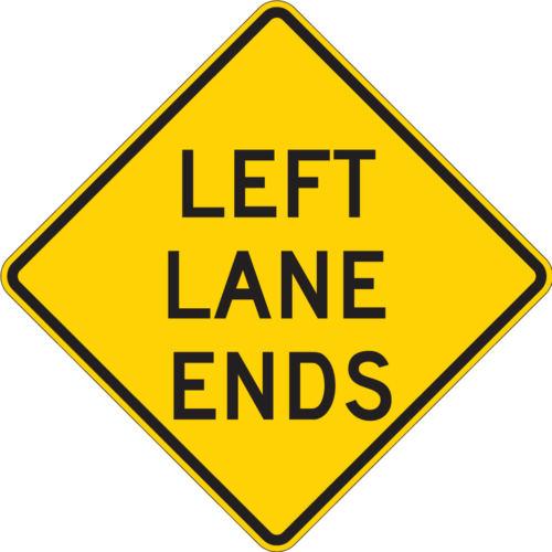 left lane ends diamond yellow sign
