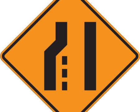 left lane orange diamond sign