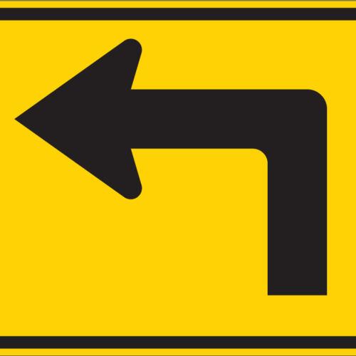 left turn arrow yellow sign