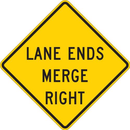 lane ends merge right diamond yellow sign