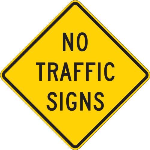 no traffic signs diamond yellow sign