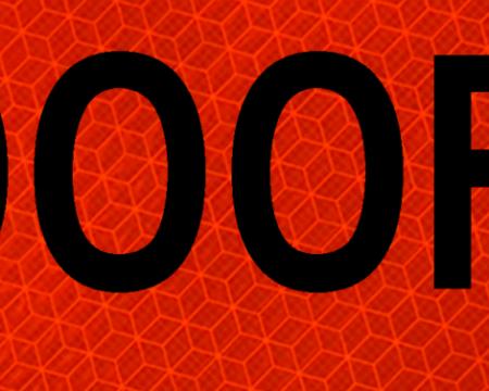 1000 feet orange vinyl sign
