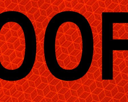 500 feet orange vinyl signage