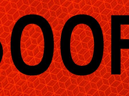 1500 feet orange vinyl sign