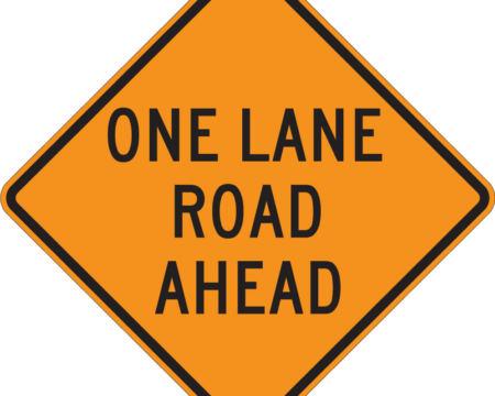 one lane road ahead orange diamond