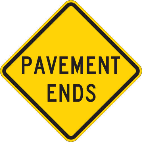 pavement ends yellow diamond symbol