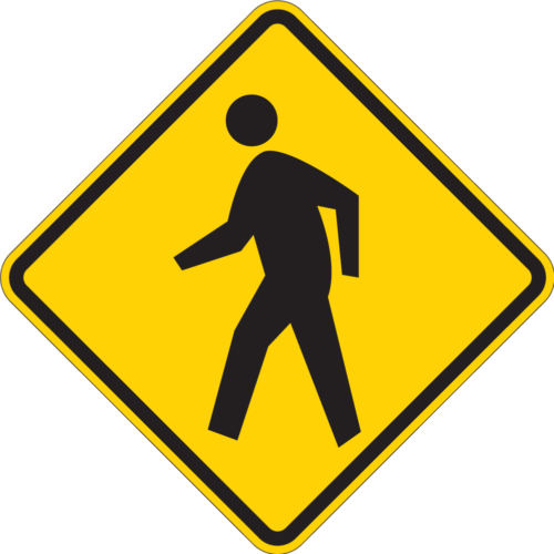 pedestrian symbol yellow diamond