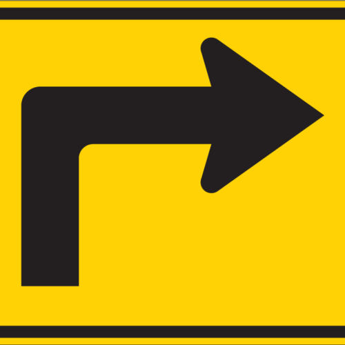 right turn yellow sign