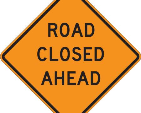 road closed ahead diamond orange sign