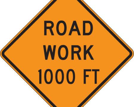 road work 1000 feet diamond orange sign