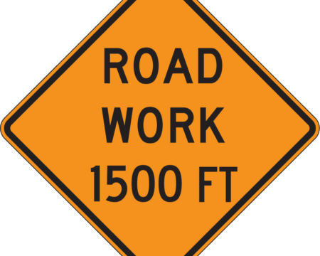 road work 1500 feet orange diamond sign