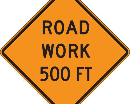 road work 500 feet diamond orange sign