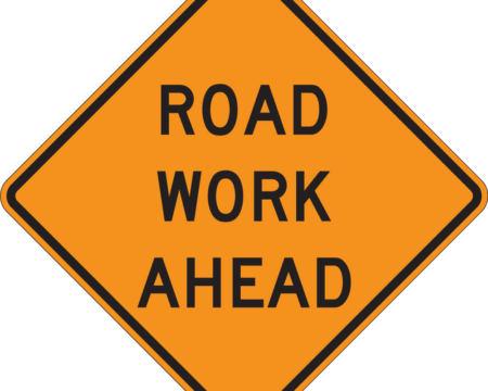road work ahead diamond orange sign
