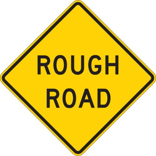 rough road sign yellow diamond