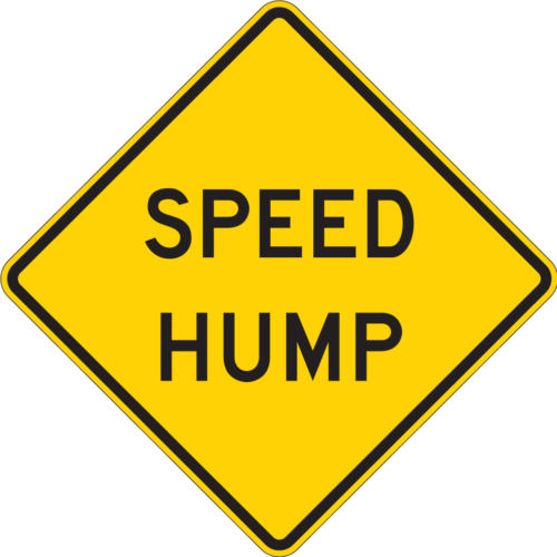 speed hump ahead yellow diamond sign