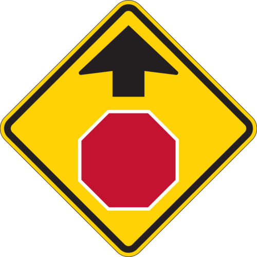 stop ahead yellow sign