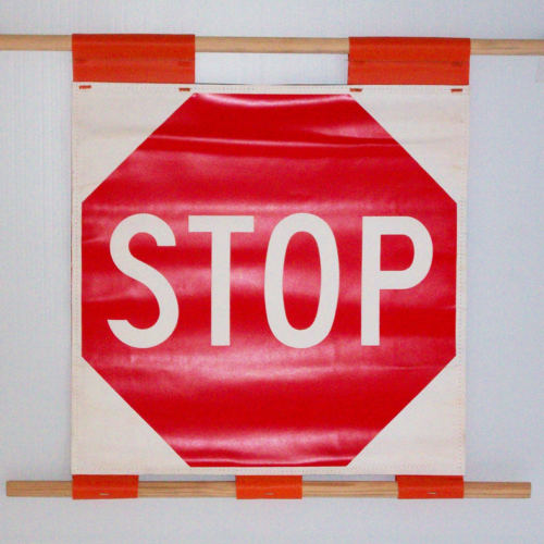 stop sign roll sign, soft stop sign, stop sign flag,