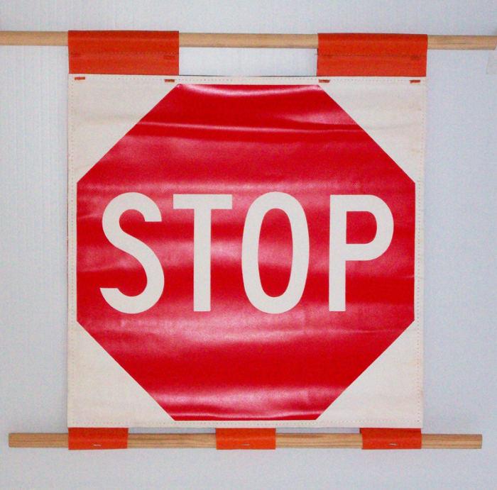 stop sign roll sign, soft stop sign, stop sign flag,