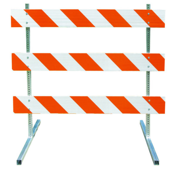 type III barricade orange white stripe