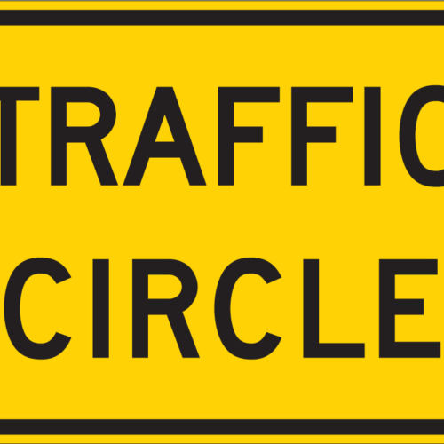 traffic circle warning sign yellow