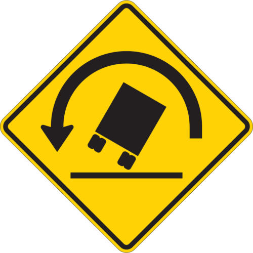 roll over truck warning sign