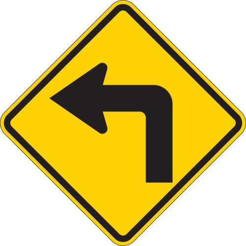 turn left sign yellow