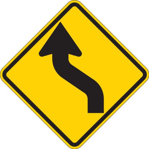 reverse curve yellow two lane diamond sign