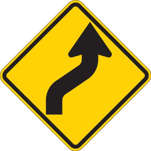 reverse curve two lane sign diamond yellow sign