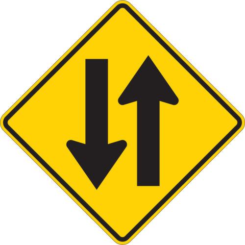 two way sign yellow diamond