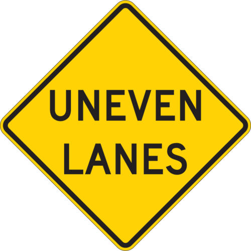 uneven lanes sign yellow and black diamond