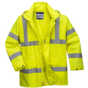 yellow reflective coat front no hood