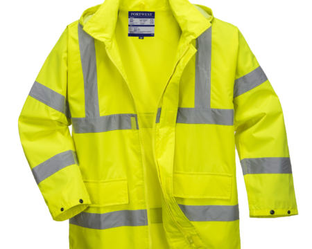 yellow reflective coat front no hood