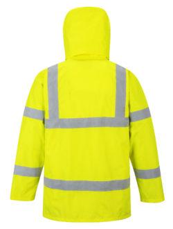 yellow reflective coat back hood