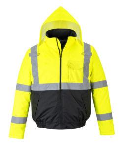 yellow reflective coat front hood