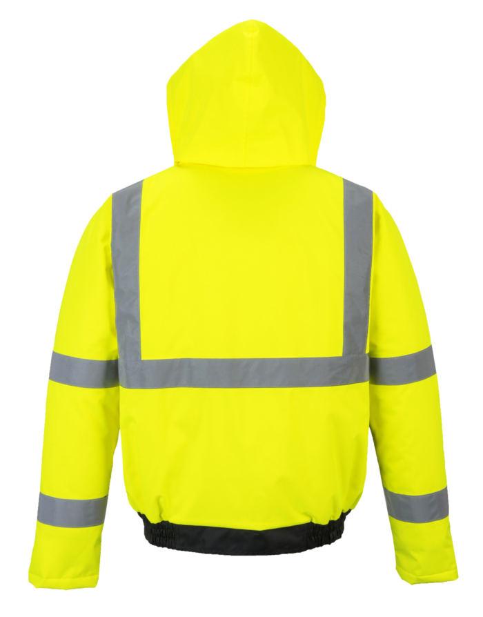 yellow reflective coat back