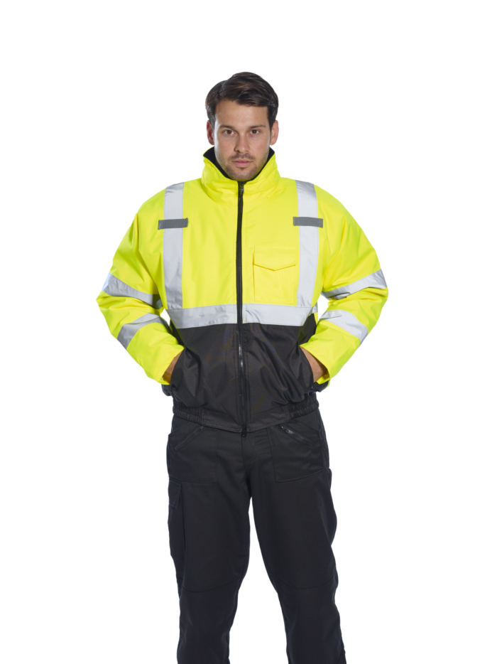 yellow black reflective coat in use