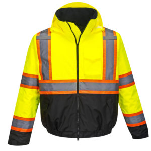 yellow orange black reflective coat front hood down