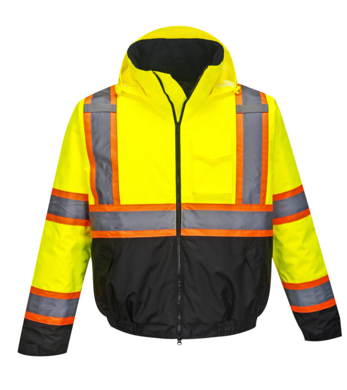 yellow orange black reflective coat front hood down