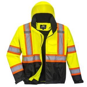 yellow orange black reflective coat front 2
