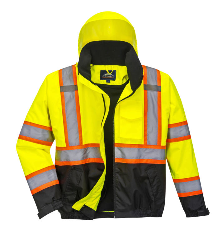 yellow orange black reflective coat front 2
