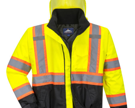 yellow orange black reflective coat front