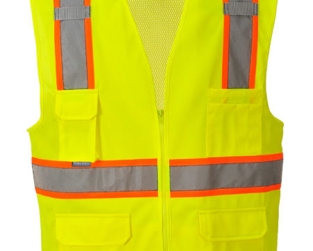 orange yellow reflective vest no sleeve front